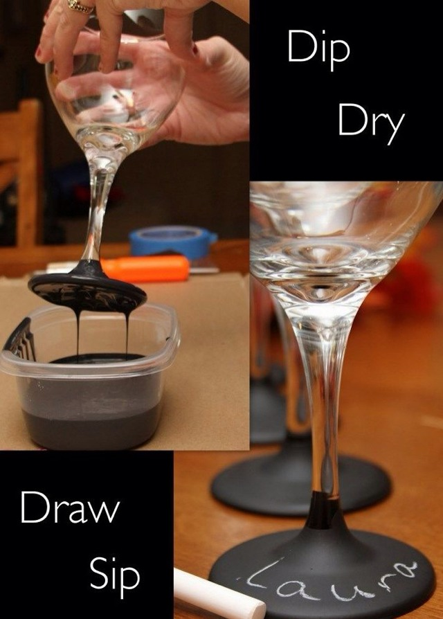 How To Dry Chalkboard Paint Wine Glasses