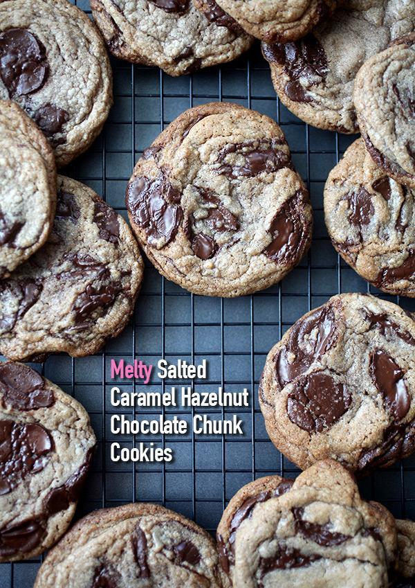 Melty! Salted Caramel Hazelnut Chocolate Chunk Cookies | Trusper