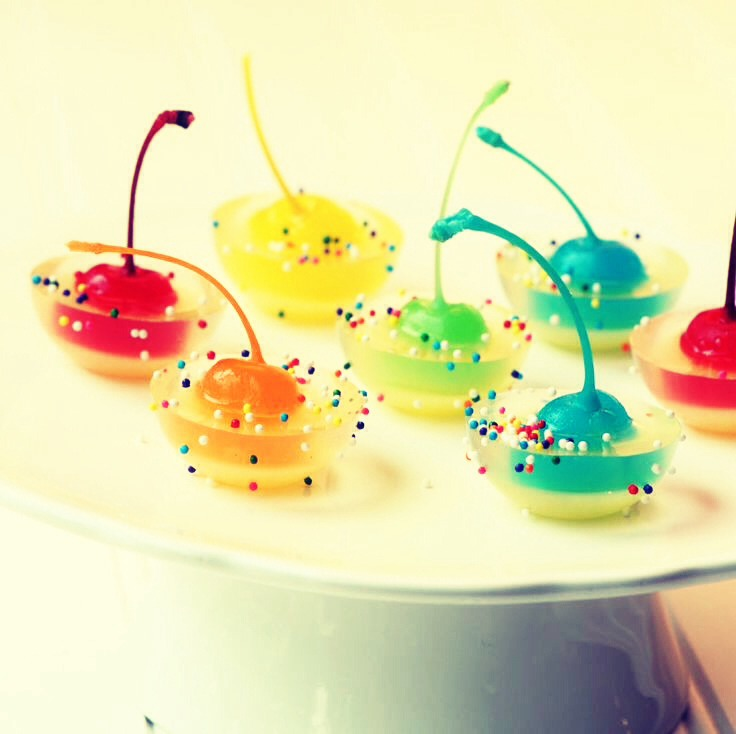 Rainbow Cherry Jello Jigglers | Trusper
