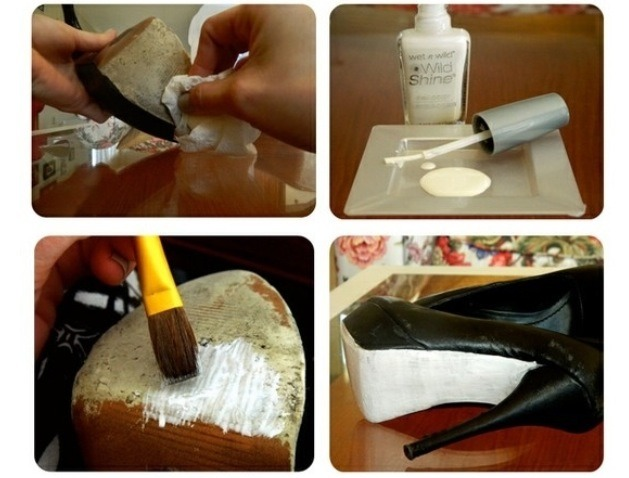 Diy colored soles of shoes using nail polish trusper for Diy shoes with nail polish