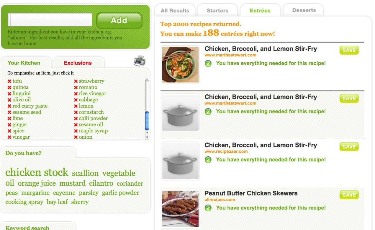 Enter ingredients, get recipe. Find recipes based on ingredients that you have on hand.