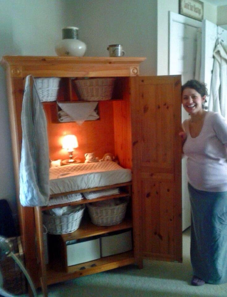 low on money baby on the way easy diy changing table take an old entertainment center and. Black Bedroom Furniture Sets. Home Design Ideas