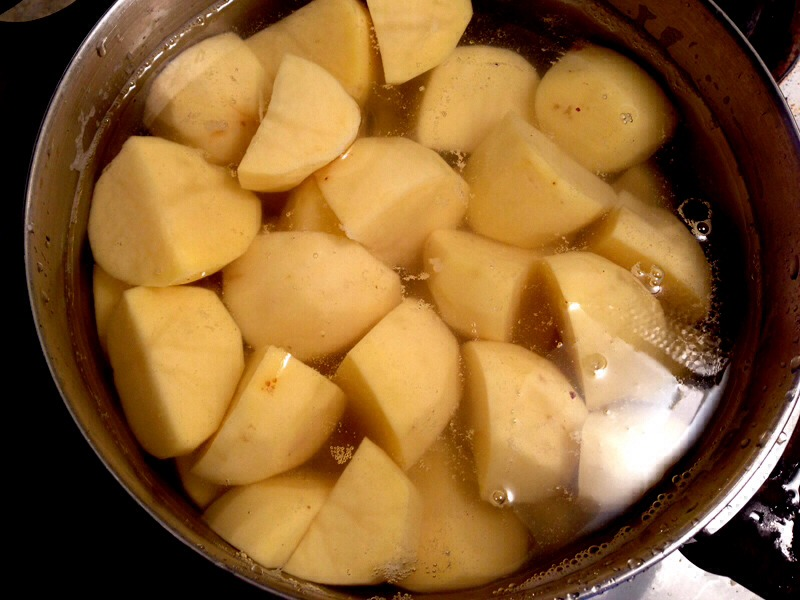 Add a tablespoon of margarine into the pot of potatoes to stop from boiling over