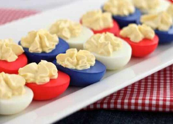 Red White and Blue Deviled Eggs!