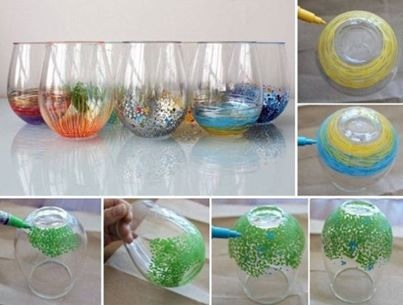 Make Pretty Glass Cups Or Vases Using A Sharpie!