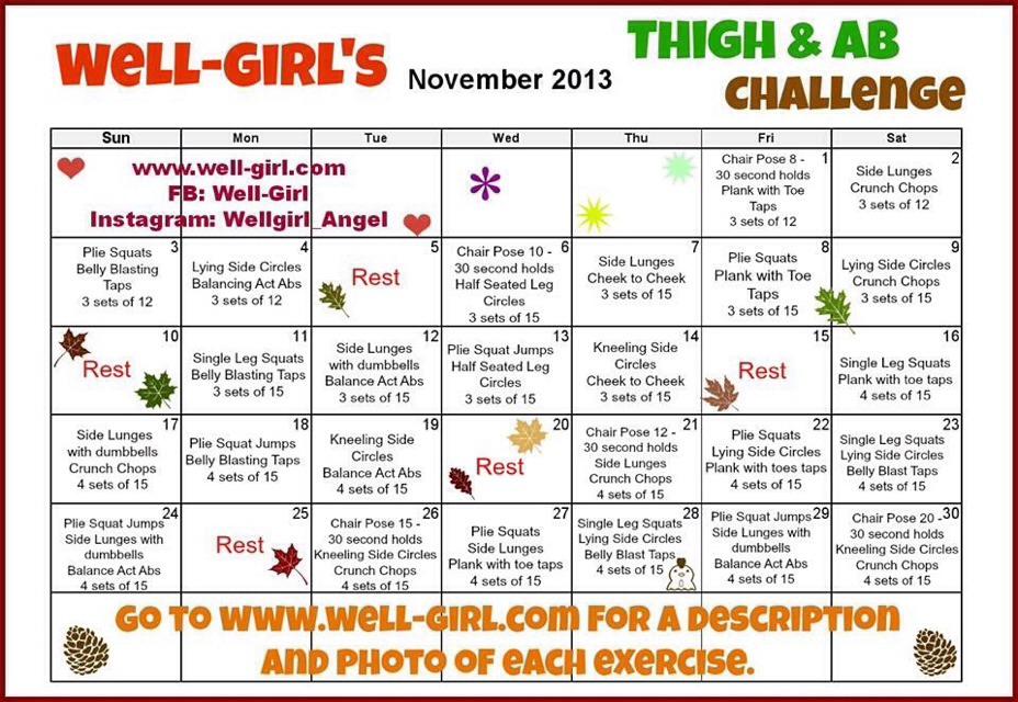 30 Day Thigh Challenge Thigh & ab challenge!