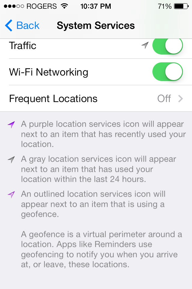 how to turn off frequent locations on android