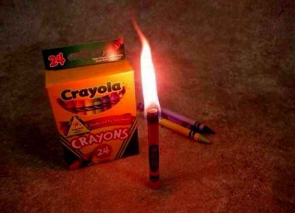 In an emergency a crayon burns for 30 minutes