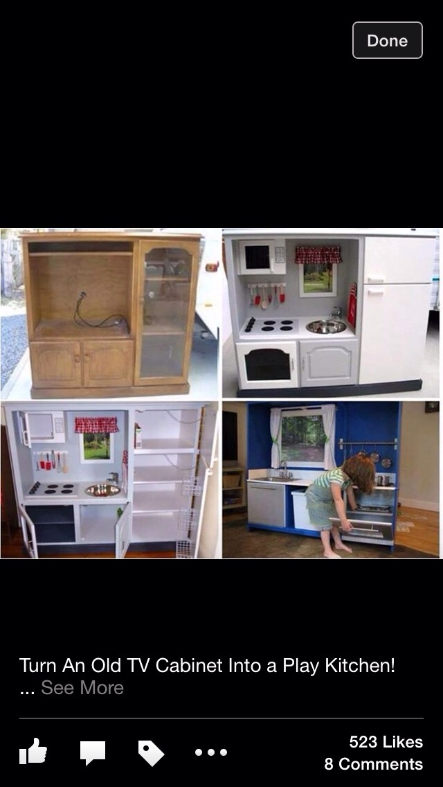 Turn Your Old Cabinet Into A Play Kitchen For The Kids. Fun Easy One Of A  Kind, Kids Will Love It