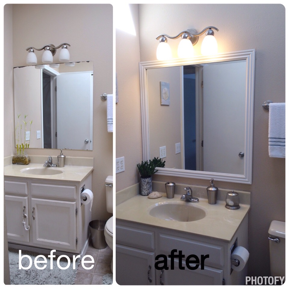 DIY Bathroom Upgrade🔨How To Frame Out A Mirror. Easy