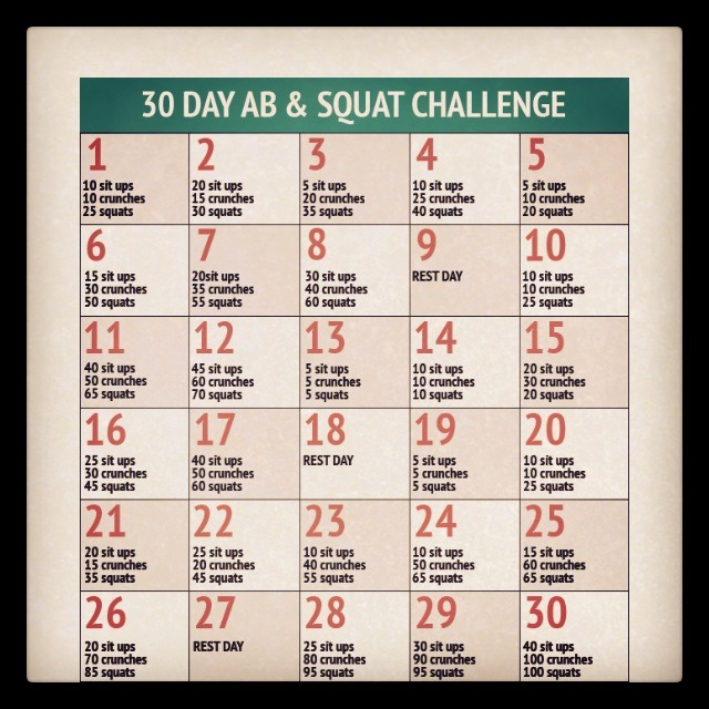 30 Day Challenge Squats And Abs 30 day ab and squat challenge