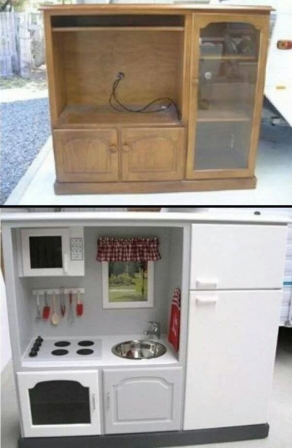 Turn An Old TV Stand Into A Kids Kitchen Okay Set!!! Genius!