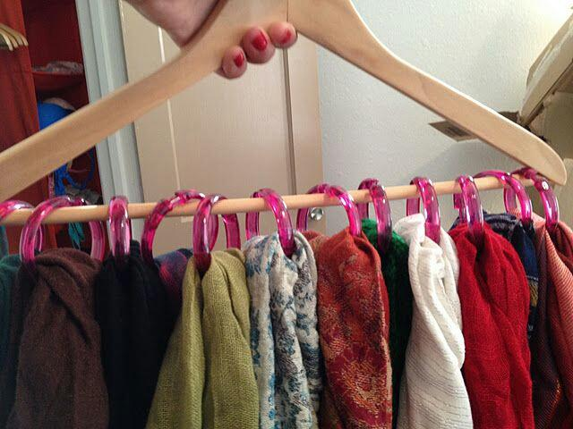 Use Shower Curtain Rings To Hang Up Your Scarfs