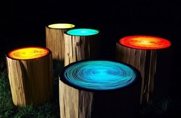 paint log stools with glow in the dark paint for a very cool effect. Black Bedroom Furniture Sets. Home Design Ideas