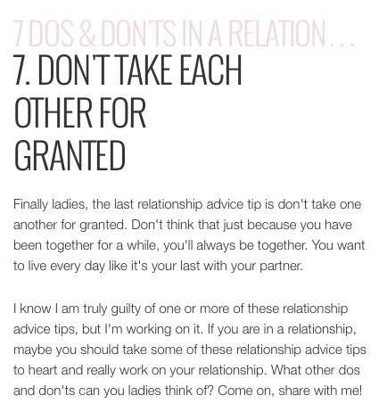 top 10 dos and donts in a relationship