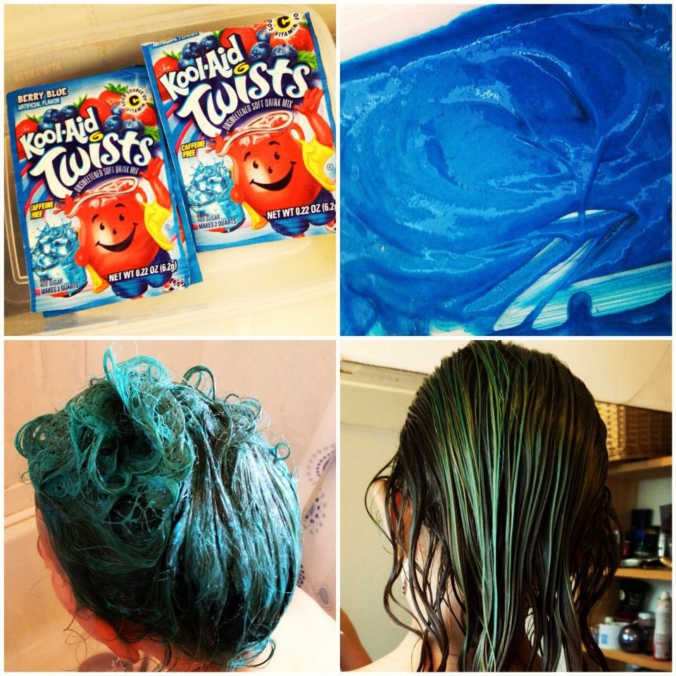 mix conditioner into unsweetened kool aid apply to hair