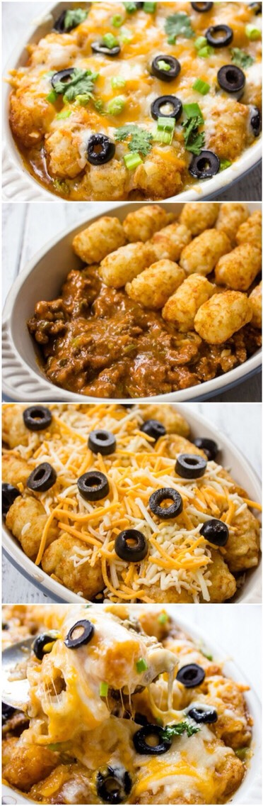 Easy And Cheesy Tater Tot Enchilada Bake. So Good!!