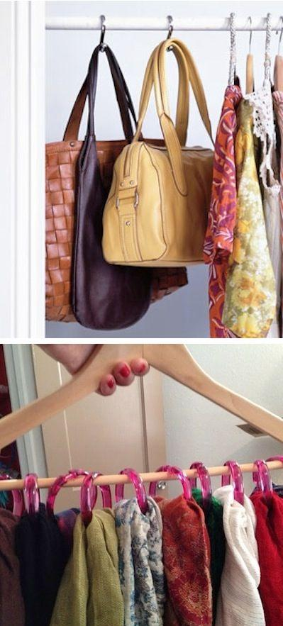 Shower hooks as closet organizers trusper for Hooks to hang purses