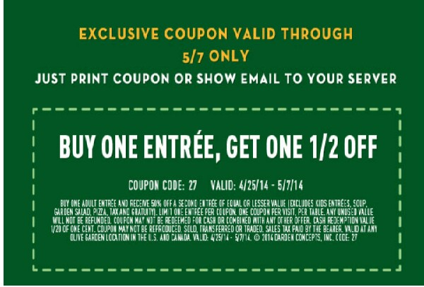 DID YOU KNOW Olive garden coupon buy one get one 50% off