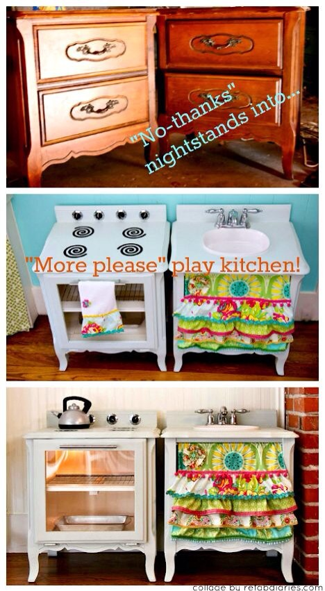 Diy kids play kitchen i love them n ur kids will too so for Cheap childrens kitchen sets