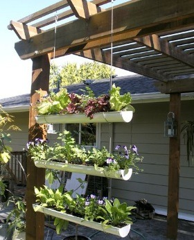 Use Eaves Trough And Wire To Create Hanging Garden Trusper