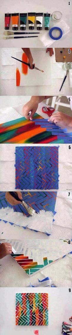 Diy tape canvas painting trusper - Fun painting ideas for walls ...