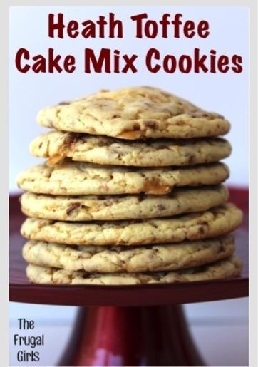Heath Toffee Cake Mix Cookies