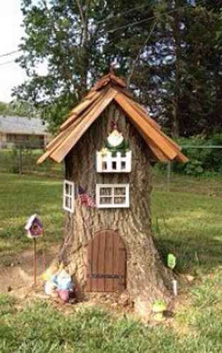 12 Turn A Tree Stump Into A Gnome Home Or Fairy Garden