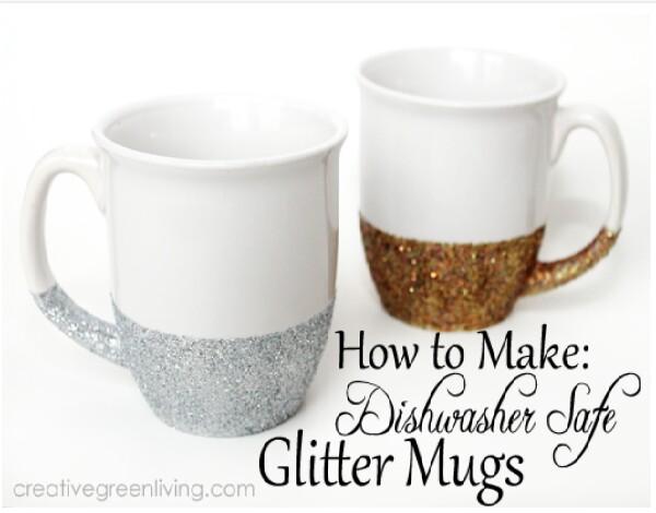 How To Make Dishwasher Safe Glitter Mugs! #Tipit
