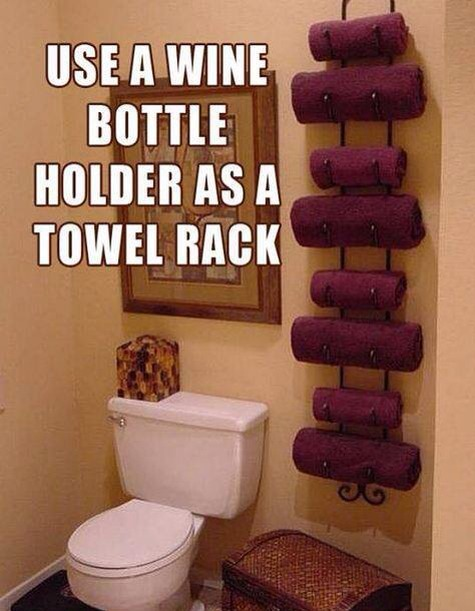 Use A Wine Rack For A Cute Towel Holder