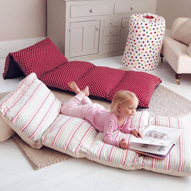 Sew Pillow Cases Together, And Insert Pillows.  Great For Movie Night!