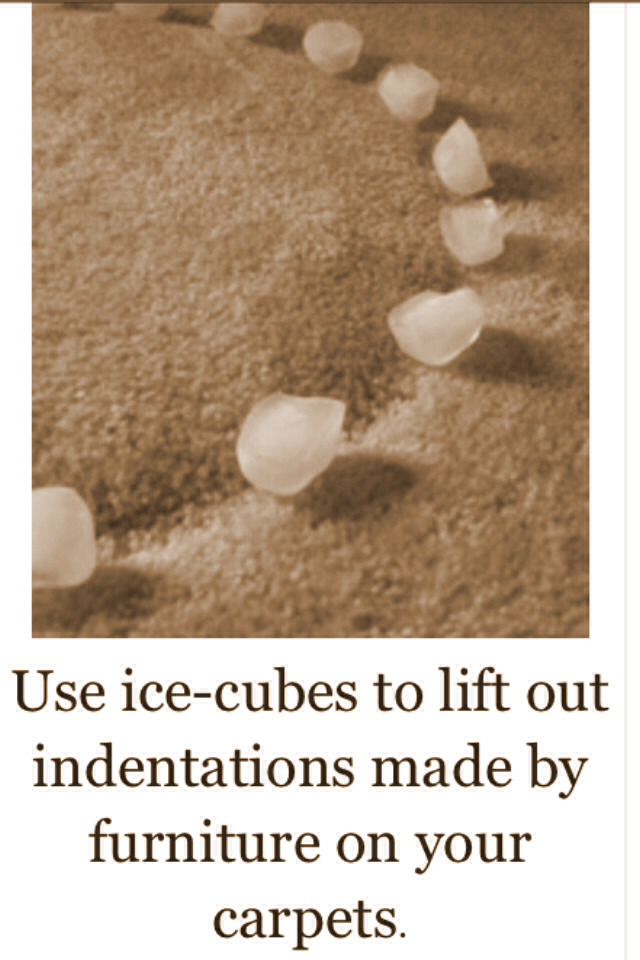 Use Ice To Lift Your Carpet From The Furniture Marks