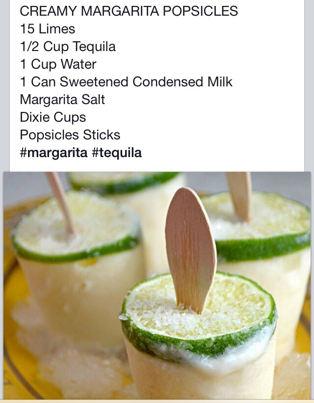Creamy Margarita pops. Mix Ingredients. Add Salted Lime In Cup. Pour ...