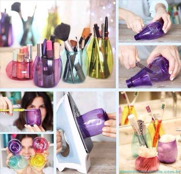 Do It Yourself -> Makeup Holders Out Of Plastic Bottles