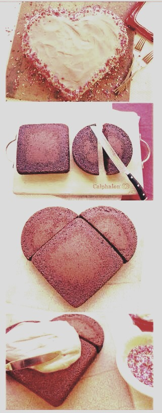 Easy way to make a love heart cake perfect for valentines for Easy method of making cake