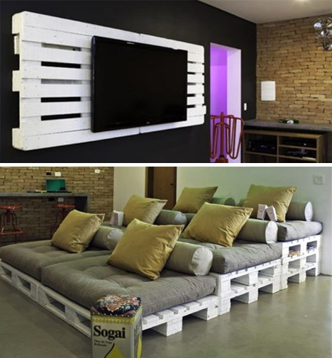 Cheap and easy pallet home theater ideas trusper for Home theater decorations cheap