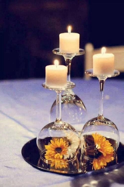 Simple Candle Idea With Wine Glasses 🍷🍷