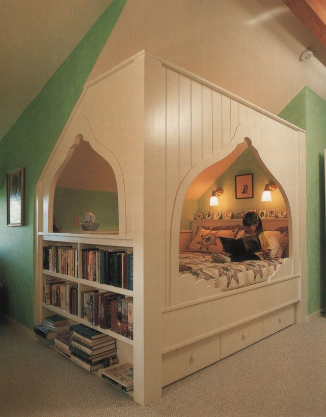 Cozy Bed +bookshelves + Storage=awesome I Love This