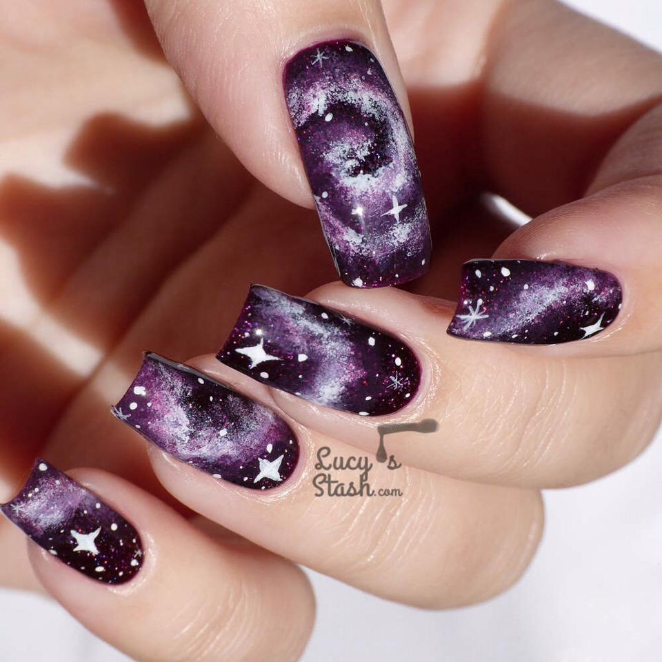 Galaxy Nails Tutorial: DIY Galaxy Nail And Eye-Makeup Tutorials! Love These