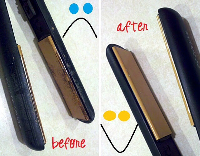 how to get rid of hairspray buildup on curling iron