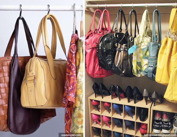 Hang Your Purses With Shower Curtain Hooks!
