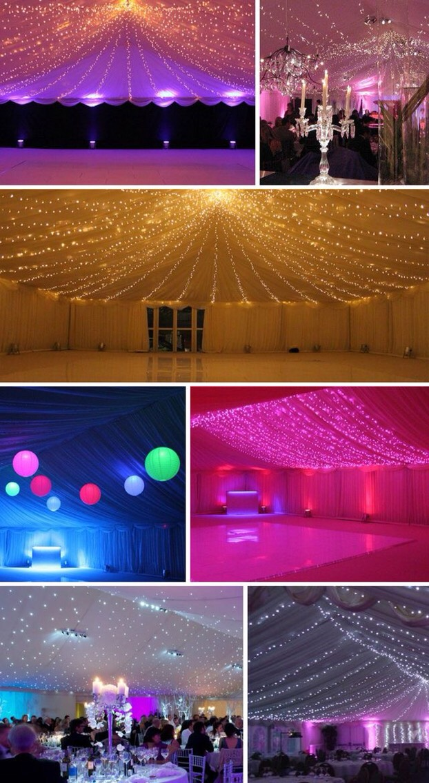 Wedding lights decorations trusper for Indoor marquee decoration