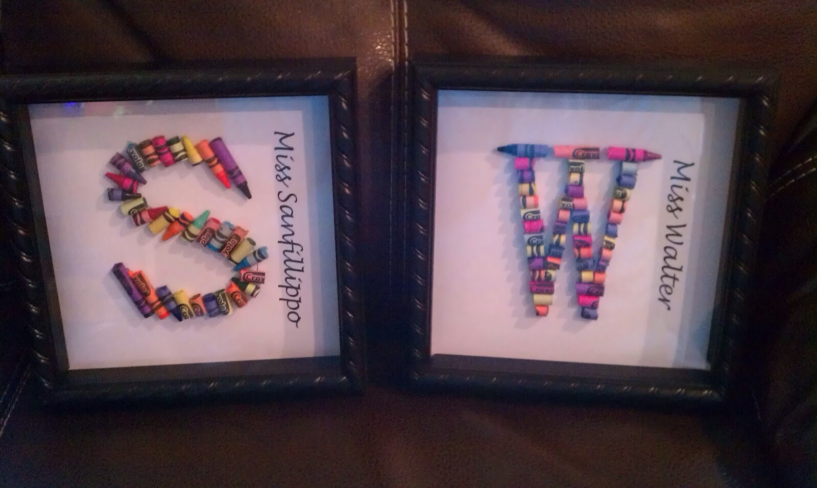 ... letter with tacky glue-> Cover crayons with tacky glue also -> Start