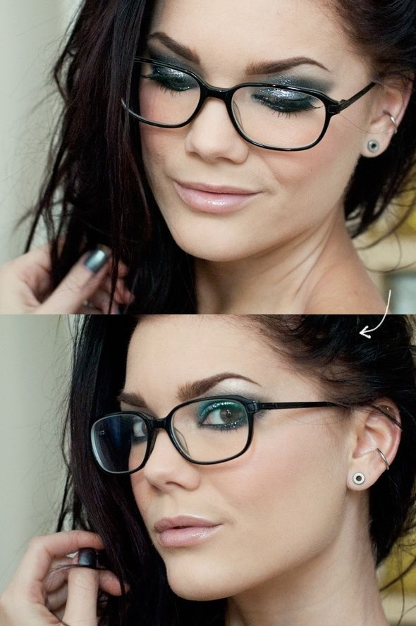 how to put on eye makeup when you wear glasses