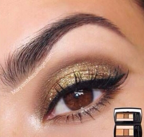 Brown and gold eyes w/black liner 💓