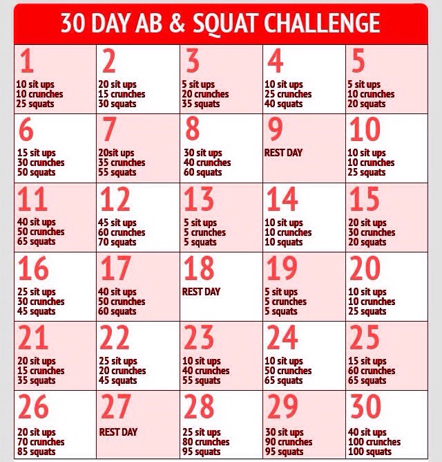 10 Days Abs Challenge 30 Day Abs Squat Challenge
