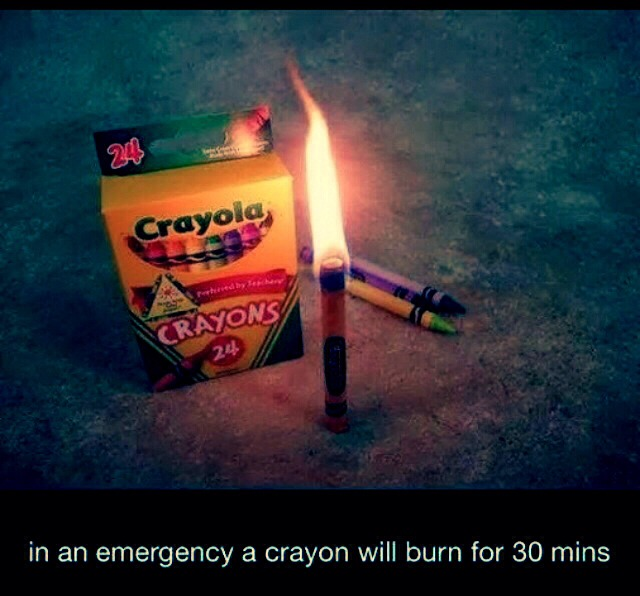 Crayons Burn For 30 Minutes. If There's Ever A Black Out Emergency!!