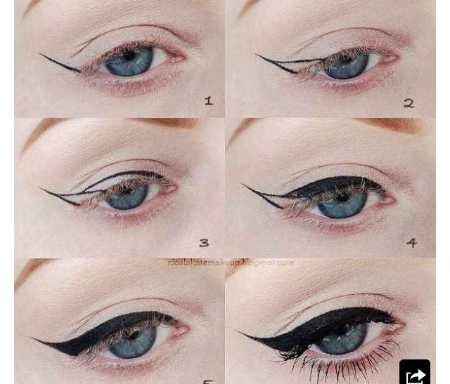 how to draw winged eyeliner
