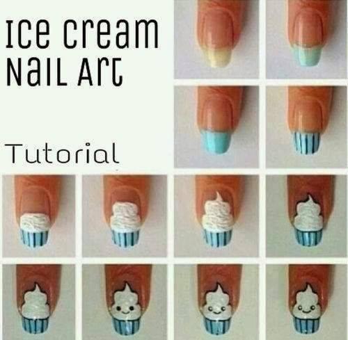 Cream Nail Art: Ice Cream Nail Art Tutorial
