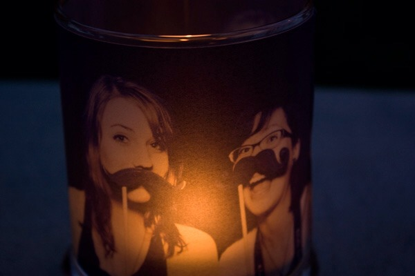 Homemade Candle Holder With Personal Photo On It